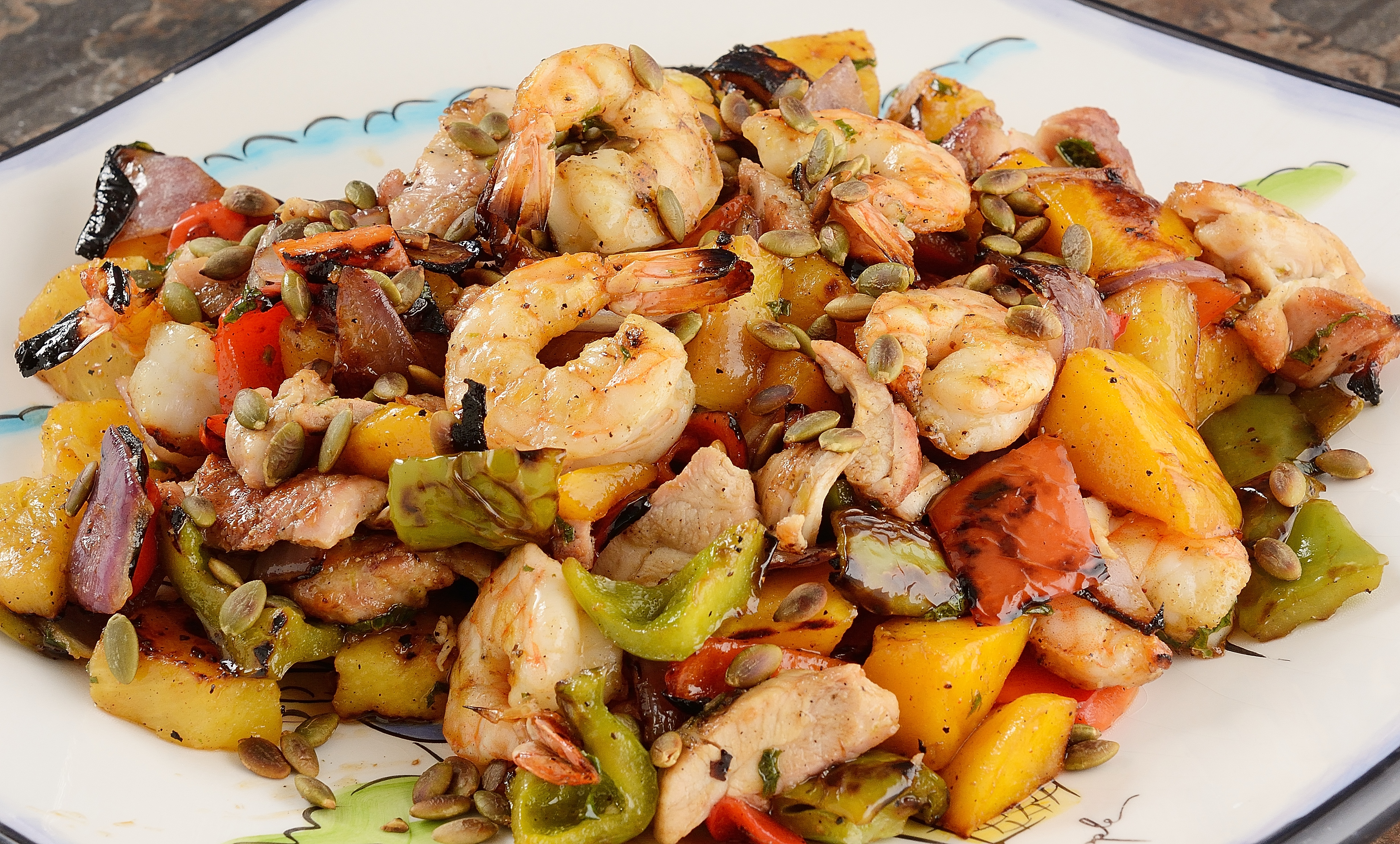 Salad with pineapple and chicken breast, shrimps, crab sticks 19